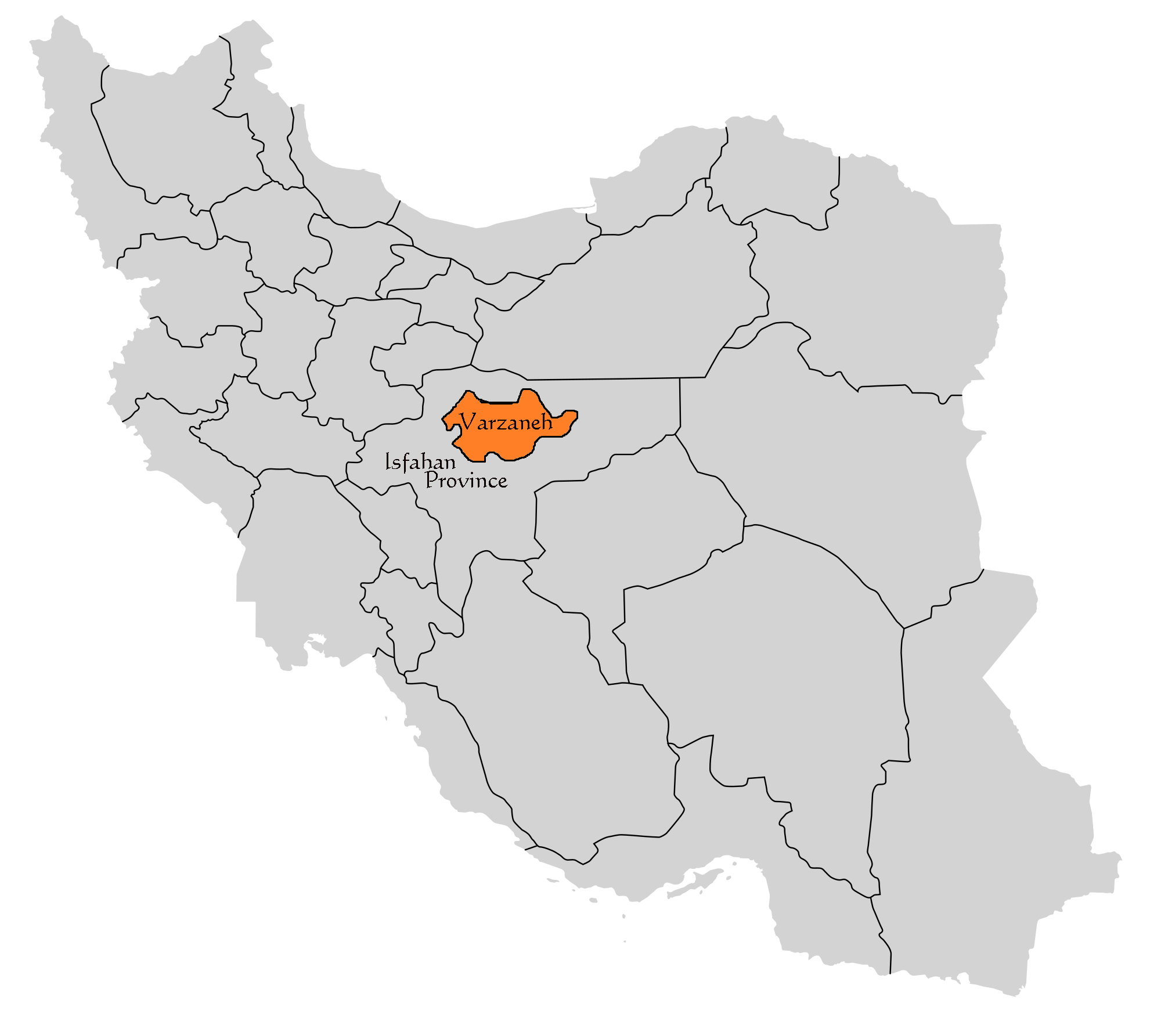 Varzaneh on Map